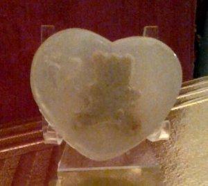 A lil teddy bear in the Heart soap bar!