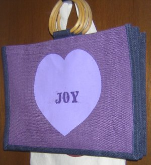 Joy in the HEART purple all natural jute Tote
