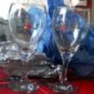 Delicate flowers & Bows on set of 2 wine glasses