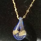 Gorgeous Blue with GOLD Glass Pendant on gold chain
