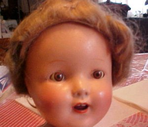 """Unmarked 16"""" Compo'Doll Wigged  Very Sweet Needs a Nice Home"""