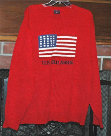 US POLO RED PATRIOTIC American Flag Sweater - Mens XL
