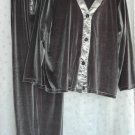COLDWATER CREEK Silver Pewter Velvet & Satin 3 PIECE Pant Suit - Size 2X