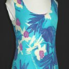 CAVIAR Turquoise Crinkle Shell Top - Size Large