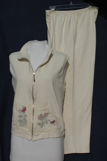 COLDWATER CREEK Ivory Sweat Pant & Zipper Vest Set - Large