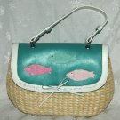 CAPELLI Straw Turquoise Fish Purse - NEW