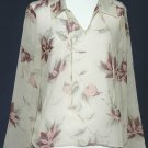 TOMMY BAHAMA Silk Semi-Sheer Blouse Top - Size Medium