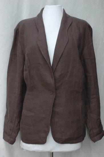 EILEEN FISHER Brown IRISH Linen FITTED Jacket - Size 1X