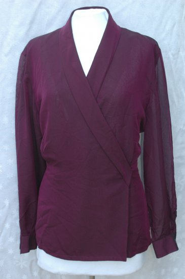 DANA BUCHMAN Purple Shawl Collar SILK Blouse - Size 16