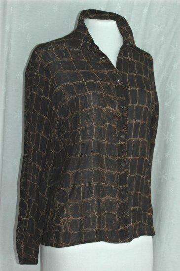 DANA BUCHMAN Brown Snake Animal Print Blouse - Size 4 Petite