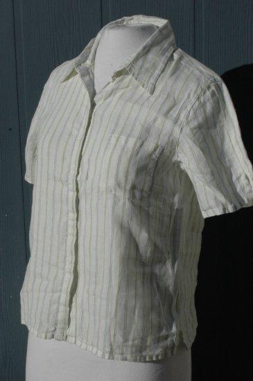 CHICO's White, green & blue pinstripe LINEN Blouse Top - Size 0