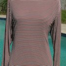 CHICO'S TRAVELERS Brick RED and White Strip Boatneck TOP - Size 3 Large