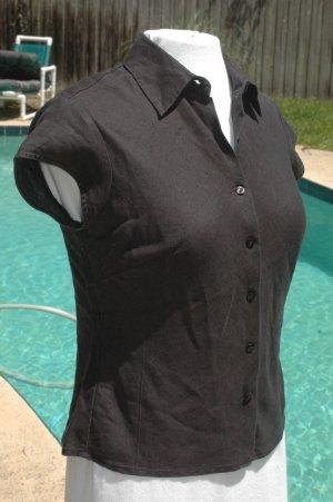 ANN TAYLOR LOFT Black LINEN Short Sleeve Blouse - Size 2