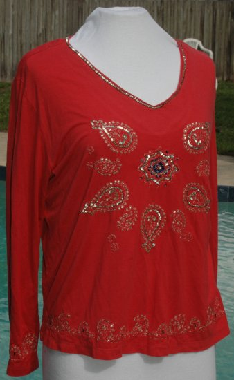 CHICO's Sequined Stretch V Neck Top - Size 2 Medium Large
