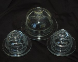 Set of 3 Clear Glass Butter Dishes from Anchor Hocking 86571 with Domes