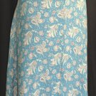 LANDS END Blue Floral SILK Skirt - Size 16