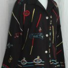 CHICO'S DESIGN Embroidered Black Cotton Jacket - Chico's Size 2