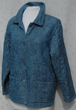 COLDWATER CREEK Quilted Denim Blue Button Jacket - Size Medium M