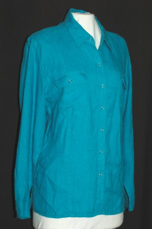 CHICO'S Long Sleeve Turquoise Blue Linen Blouse - Chico's Size 2 M L