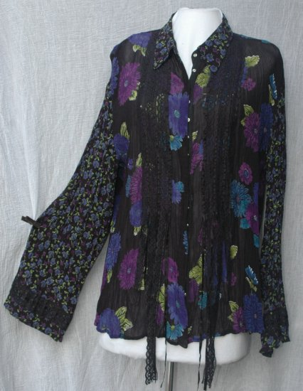 CHICO'S DESIGN Long Sleeve Ribbon & Lace Rayon Blouse - Chico's Size 1 S M