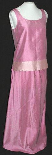DANA BUCHMAN 2 Piece Skirt & Tank Top PINK RAW SILK Set Outfit - Size Small
