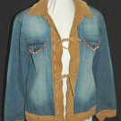 CHICO'S DESIGN Stretch Denim & Leather Tie Front Beaded Jacket Coat Blazer - Chico's Size 0