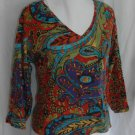 CHICO's Vibrant ¾ sleeve cotton top Size 3 Large