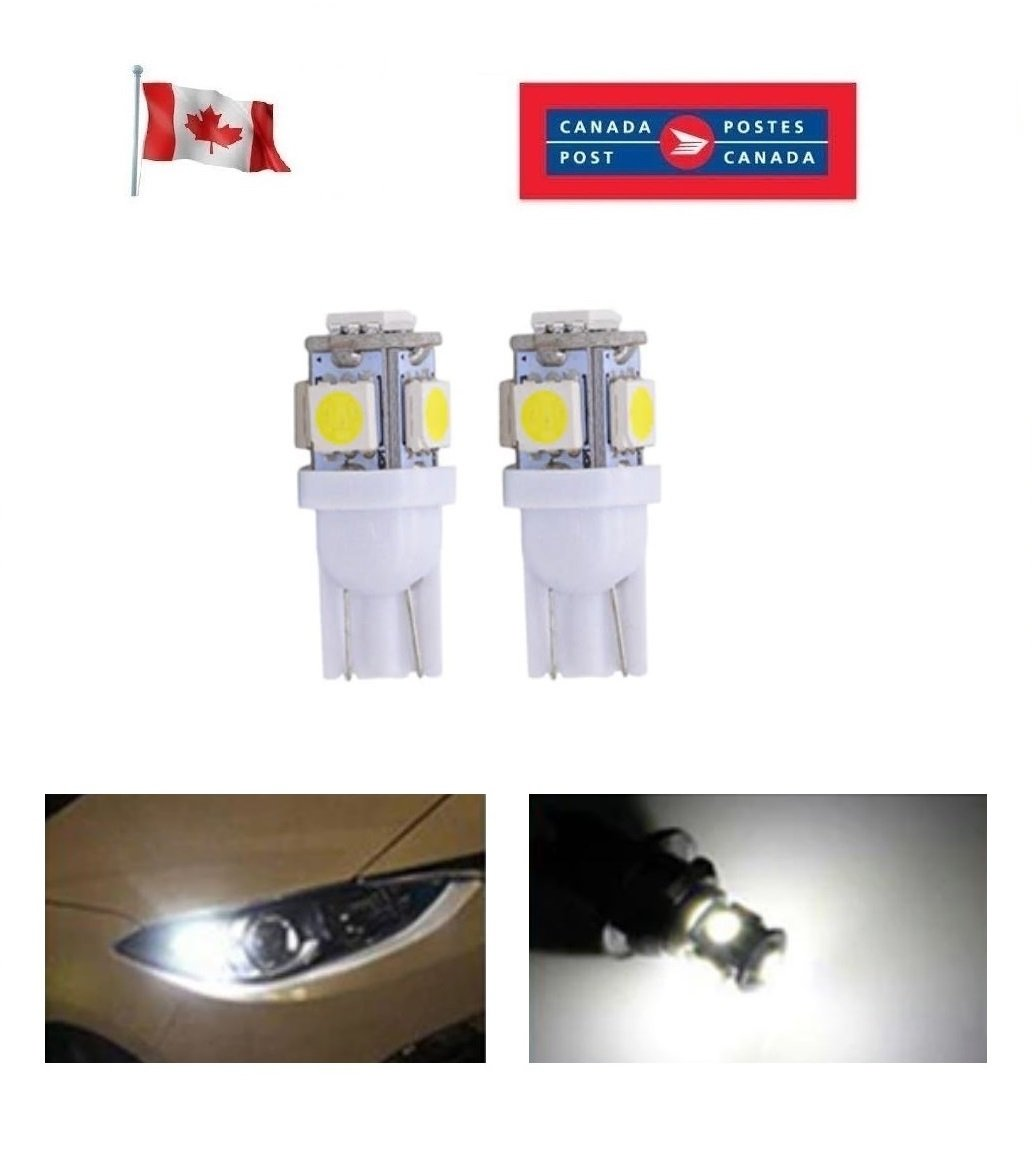 2 x T10 Bright White LED Car Lights 194 168 2825 5050 5SMD Bulb Lamp Peanut
