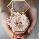 Unique Clear Glass Ring Box Wedding Hexagon Ring Box Gold Frame Glass Box Wedding Gift Jewelry Box