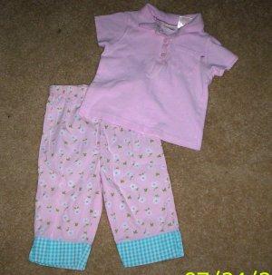 LN girls 3T 2pc Kid Connection outfit shirt/capri pants