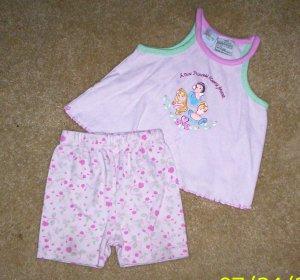 ADORABLE girls 18 mos 2pc disney princess outfit shorts