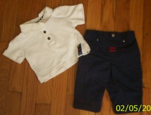 Handsome NN boys 0-3 mos George 2pc nautical outfit