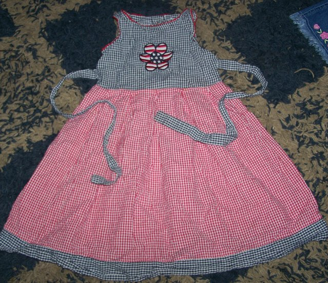 NN girls 2T baby crew patriotic gingham sundress tie bk