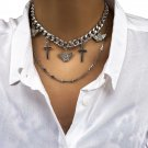 Unisex Women Girls Men Silver Cross Crucifix Multi Layer Hip Hop Chain Necklace