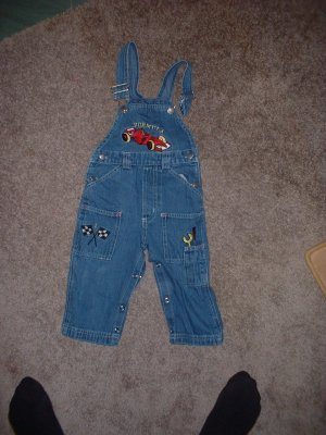 Size 18 Months Boys Overalls Formula Race Car Pit Crew  PRICE REDUCED! +Shipping INCLUDED!