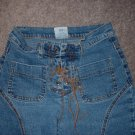 Girls' Size 8 Flare Blue Jeans Leather ties ***SHIPPING IS INCLUDED***