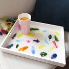 Resin Wooden Tray with Decorative Feathers HANDMADE