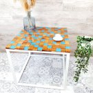 Epoxy Resin Coffee Table with Blue Squares - Sea Blue HANDMADE
