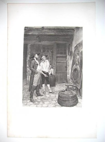 """""""The sign Painter"""" By Meissonier , Gravure fron the 1880's"""