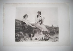 """'By the Seaside"""" by Delobbe ANTIQUE GRAVURE FROM the 1880's"""