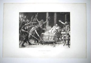 'The Death Of Vitellius' by Edourde Vimont. Gravure from 1880's