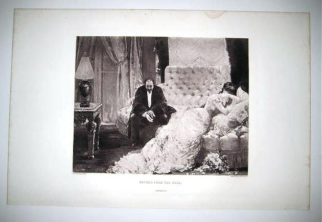 'RETURN FROM THE BALL' by H.Cervex. Antique gravure from 1880's