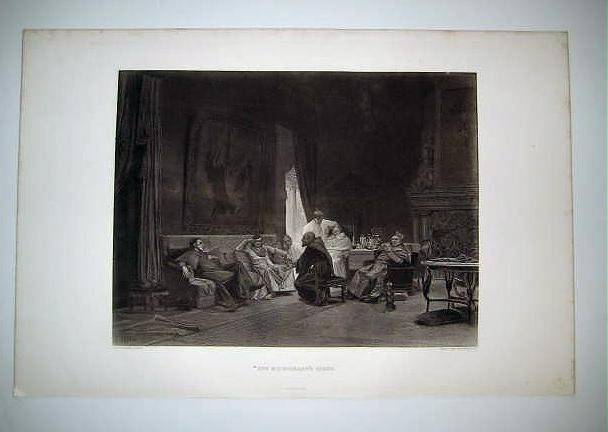"""'The Missionary's Story"""" by J.G.Vibert , Antique Gravure from 1880's"""