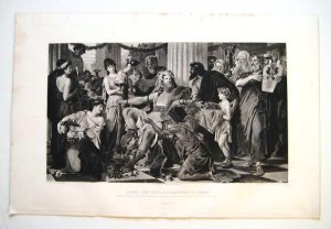 """'Alaric the Goth as Conqueror in Athens"""" by Thiersch. 1880's gravure"""