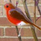 Robin fused glass bird, garden ornament, bird gift, garden decor, garden gift, garden bird