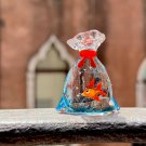 Murano glass goldfish, red fish in a bag of water miniature. Figurine made in Venice