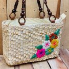 Water Hyacinth Box Handbag with Flower Embroidery, Indonesia Hand Made, Woman Accesories Gift