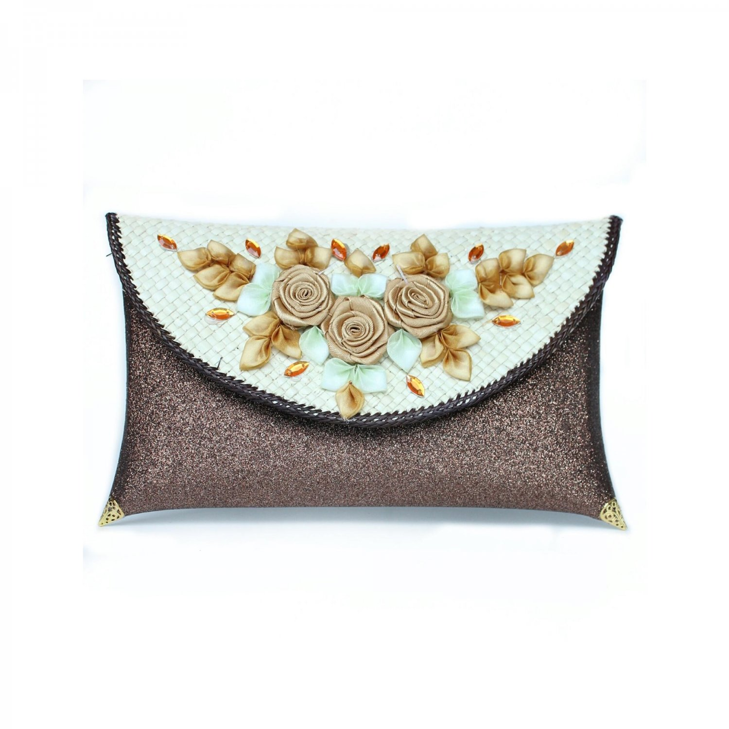 Pandan Clutch bag with Glitter Color and Flower Embroidery, Woman Accessories, Indonesia Craft