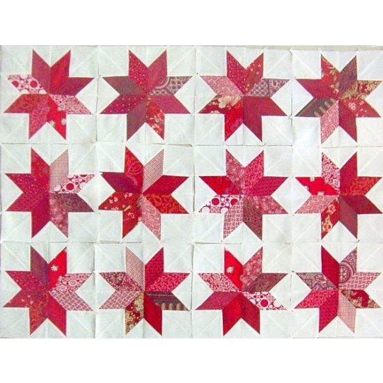 Scrappy Red Lemoyne Star Quilt Blocks