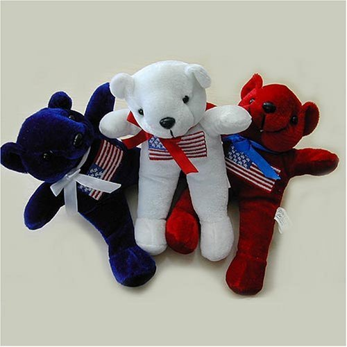 Plush Bear with Flag Print